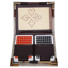 Double Deck Angel 100% Plastic Playing Cards w/ Designer Case, c. 1980