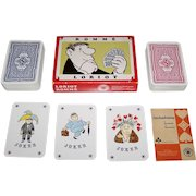 """Double Deck ASS """"Loriot"""" Playing Cards, Vicco von Bülow (aka """"Loriot"""") Designs, c.1973"""