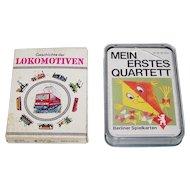 """2 German Quartett Card Games, $15/ea.: (i) Coeur """"Geschichte der Lokomotiven"""", c.1981; (ii) Berliner Spielkarten """"Mein Erstes Quartett"""""""