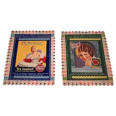 "2 Lucky Strike Milton Work Bridge Cards, c.1930s, $20/ea.: (i) ""OK – Miss America!"" No. 47; (ii) ""Cream of the Crop – June Collyer"" No. 35"