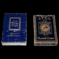 """2 Decks Canada Playing Cards, $20 ea.: (i) International Playing Card Co. (Canada USPC) """"The Slater Shoe"""" Bicycle Playing Cards, Multi-Color Series Joker, c. 1947; (ii) Canadian Playing Card Co. """"Stag"""" Playing Cards, """"Sports Bridge"""" Brand, c.1925"""