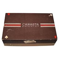 "Classic Products Company ""Canasta Gin Play-Kit,"" M. Rubinoff Creator/Designer, c.1949 ($20); w/ Cards Added, c.1950s ($15)"