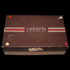 "Classic Products Company ""Canasta Gin Play-Kit,"" M. Rubinoff Creator/Designer, c.1949 ($20); w/ Cards Added, c.1950s ($15)"