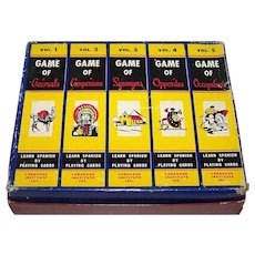 """Language Institute, Inc. """"Learn Spanish by Playing Cards"""" Games, Full Set of 5 Games (Animals, Comparisons, Synonyms, Opposites, and Occupations), w/ 10 Decks of Cards, 2 Books, c.1954"""