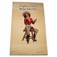 """Esq., Inc. """"Esquire Girl Bridge Score Pad,"""" Ben-Hur Baz Illustration (""""Calamity""""), c.1947"""