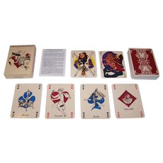 """Grimaud (France Cartes) """"Correspondances"""" Playing Cards, Laurence Caiazzo and Pica-Cicero-Scop Designs, c.1985"""