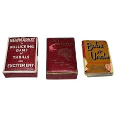 "2 Vintage British Cards Games, c.1930-1935, $10/ea.: (i) Storey ""My Word: The Better Letter Game""; (ii) Waddington ""Bobs Yr Uncle"""