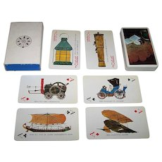 """Nintendo """"Industrial Bank of Japan"""" Playing Cards, History of the Automobile Designs, c.1974"""