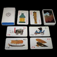"Nintendo ""Industrial Bank of Japan"" Playing Cards, History of the Automobile Designs, c.1974"
