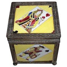 19th Century German Wood Box w/ Berlin Pattern Porcelain Panels and Brass Framing