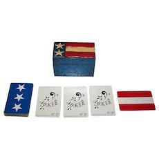 "Nintendo ""Fitz and Floyd"" Playing Cards (+ 2 Jokers) w/ Custom Painted Wood Box, Jasper Johns Flag, c. 1960s"