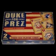 "Double Deck Starbucks ""Duke for Prez"" Advertising Playing Cards, Gary Trudeau ""Doonesbury"" Designs, c.2000"