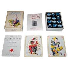 """Edition Arts et Lettres """"Le Jeu de la Cuisine Lorraine"""" Playing Cards, Altered Suit Signs, Yvan Woodcock Designs, J.M. Cuny Conception, c.1978"""