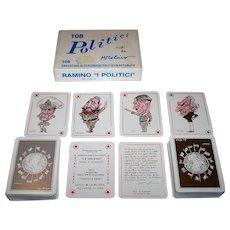 """Double Deck La Milano """"I Politici"""" Playing Cards, """"I Maestri dell'Arte Italiana"""" Series, Marina Molino Illustrations, c.1983"""