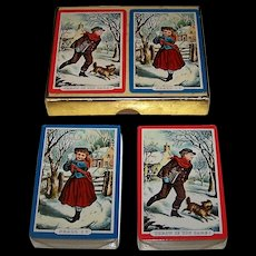 """Double Deck Western """"Currier & Ives"""" Playing Cards, """"Throw If You Dare"""" and """"Shall I,"""" Travelers Insurance Company Publisher, c.1940-1965"""