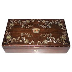 Napoleon III Rosewood Game Box, Mother of Pearl Inlay ($350), w/ Antique Cards (Optional -- $50), c.1865