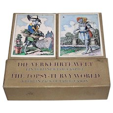 "Edition Leipzig ""Die Verkehrte Welt: Ein Berliner Tarockspiel"" Facsimile Playing Cards (""The Topsy Turvy-World: A Berlin Pack of Taroc Cards"") [1815 Deck by Muller of Berlin] Ltd. Ed. ___/2000 (1000 for Edition Popp), c.1982"