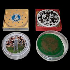 """4 Decks Round Playing Cards, $10/ea.: (i) Arrow """"Discus"""",  c.1930s; (ii) Waddington's """"Rondo"""", c.1960s; (iii) """"Open Championship of Canada"""" c.2004; and (iv) Gemaco """"United States Central Command"""""""