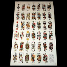 "Viassone ""Tarocco Bolognese"" Uncut Sheet Tarot Cards, Partial Set (41/62), c.1930-1950"