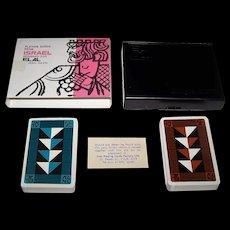 "Double Deck Lion Playing Cards Factory ""El Al Airlines,"" Jean David Designs, c.1969"