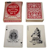 "Dougherty ""Hockey"" Playing Cards, Moon Pinochle #7 Ace of Spades, Wonderful Joker, c.1910"