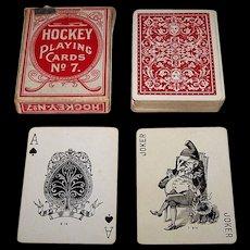 "Dougherty ""Hockey"" Playing Cards, Moon Pinochle #7 Ace of Spades, Wonderful Joker, c.1910"