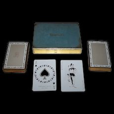 """""""Double Deck"""" Tiffany & Co. (USPC) """"Tiffany"""" Playing Cards, C.E. Carryl Court Card Designs, Reprint of 1879 """"Tiffany Harlequin"""" Courts, c.1974"""