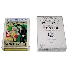 "2 Decks Poster Art Playing Cards, $15/ea.: (i) Grimaud ""54 Affiches Retro,"" c.1991; and (ii) Phillip Lewis Agencies ""Second World War 1939-1945,"" c. 1992"