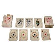 """Handa """"Patience de Luxe No. 50"""" Patience Playing Cards [Mesmaekers Freres Designs, plus 2 Van Genechten Jokers], c.1945"""