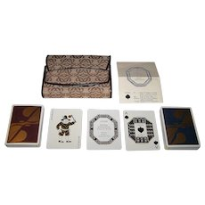 "Double Deck Fournier ""Loewe"" Playing Cards, Custom Suede/Leather and Fabric Loewe Case, Margot Hamilton Hill Designs, c.1970"