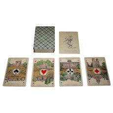 """Van Genechten """"Cartes Parisiennes"""" (""""Cartes Royales No. 2""""?), Parisian Scenic Aces, I.P.C.S. Pattern Sheet No. 73, c.1900-1920"""