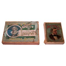 """2 (Incomplete) Antique """"Game of Author"""" Card Game Sets, $15/ea.: (i) J.W. Spears """"The Popular Game of Authors, Improved Edition"""" (35/36 Cards), c.1890; (ii) Unknown Maker """"Authors"""" (20/42 Cards?), c.1890"""