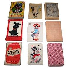 """3 """"Schwarzer Peter"""" (""""Black Peter"""") Card Games, $10/ea.: (i) German """"Schwarzer Peter,"""" c.1920s; (ii) Gold Pfeil """"Schwarzer Peter,"""" c.1940; and (iii) Piatnik """"Schwarzer Peter,"""" Willy Mayrl Designs, c.1960"""