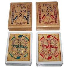 "Twin Decks Grimaud (France Cartes) ""Jeu de l'An 2"" Playing Cards, [Original Printed 1795 by Mouton] Reprint c.1969, $15/ea."
