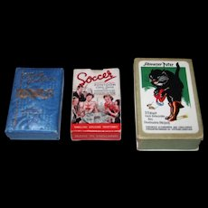 "3 Vintage Card Games, $15/ea.: (i) J. Wolf ""Lincard,"" c. 1961; (ii) W.H. Storey & Co., Ltd. ""Soccer Pontoon,"" c.1938; and (iii) ASS ""Schwarzer Peter,"" Otto Pech Designs, c.1950s"
