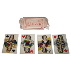 "Maximilian Frommann ""Bésique"" Playing Cards, w/ Original Wrapper, c.1870"