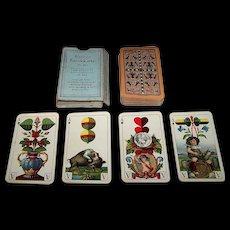 """VSSF """"Bayerisches Einfachbild"""" Playing Cards, Cornflower Backs, Altenburger Tarokkarte No. 145, c.1930"""