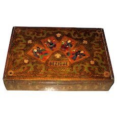 Anglo-Indian Kashmiri (Srinagar) Painted Wood Bezique Box, c.1870