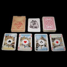 """Dondorf No. 424 Playing Cards, """"Rhineland"""" Pattern for Sale in the Netherlands w/ Dutch Scenic Aces, c.1930"""