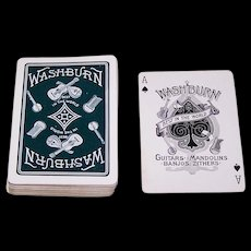 "NYCC (?) ""Washburn Guitars, Mandolins, Banjos, Zithers"" Advertising Playing Cards (52/52, NJ), c.1890s"