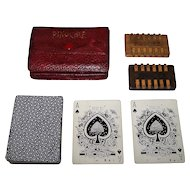 "NYCC ""Bee 92"" Pinochle Set, w/ Antique Wood Pinochle Counters, Custom Case, c.1900"
