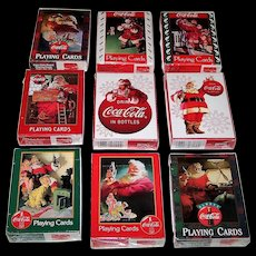 "9 Decks USPC ""Coca Cola Christmas Santa Claus"" Playing Cards, $3/ea."