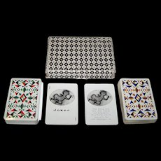 "Double Deck Waddington's ""Siriol Clarry"" Playing Cards, Siriol Clarry ""Four Elements"" Designs, c.1964"