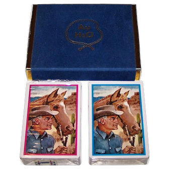 """Double Deck Brown & Bigelow (Stancraft) """"AuH2O"""" Nu-Vue Playing Cards, Barry Goldwater Campaign, c.1964"""