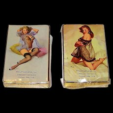 "2 Decks Brown & Bigelow ""Philip Lagana, Inc."" Advertising Pin-Up Playing Cards, Gil Elvgren Designs, c.1940s, $45/ea."