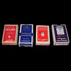 "4 Decks Italy Regional Playing Cards, $10/ea.: (i)  Viassone ""Siciliane,"" c.1950; (ii) Modiano Piacentine, c.1971; (iii) Dal Negro ""Napoletane""; and (iv) Kalos ""Siciliane"""