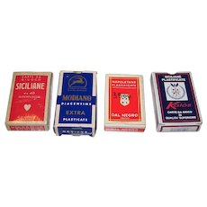 "4 Decks Italy Regional Playing Cards, $10/ea.: (i)  Viassone ""Siciliane,"" c.1950; (ii) Modiano Piacentine, c.1971; (iii) Dal Negro ""Napoletane""; and (iv) Kalos ""Siciliane"""