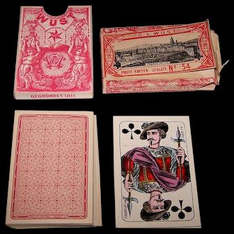 """C.L. Wüst """"Piquet No. 54"""" Playing Cards w/Wrapper, Wüst House Pattern No.1, c.1880"""