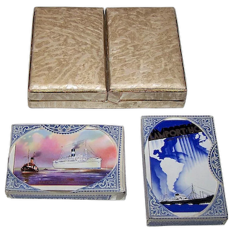 """Double Deck Waddington """"Lamport & Holt Line Limited"""" Maritime Playing Cards, c.1940"""