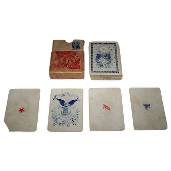 """American Card Co. """"Union Cards"""" Playing Cards, New Suits Deck, Benjamin Hitchcock Designs, c. 1862"""
